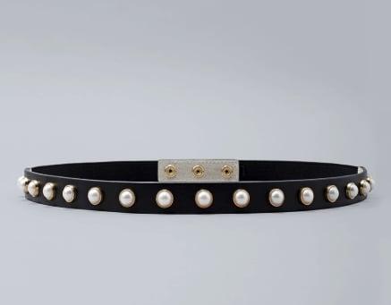 Faux Pearl Skinny Belt