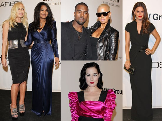 Photos of Rachel Bilson, Kanye West, Dita Von Teese, Janet Jackson, and Donatella Versace at an amfAR Dinner in Milan