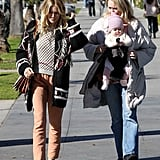 Sienna Miller and daughter Marlowe walked in Santa Monica.