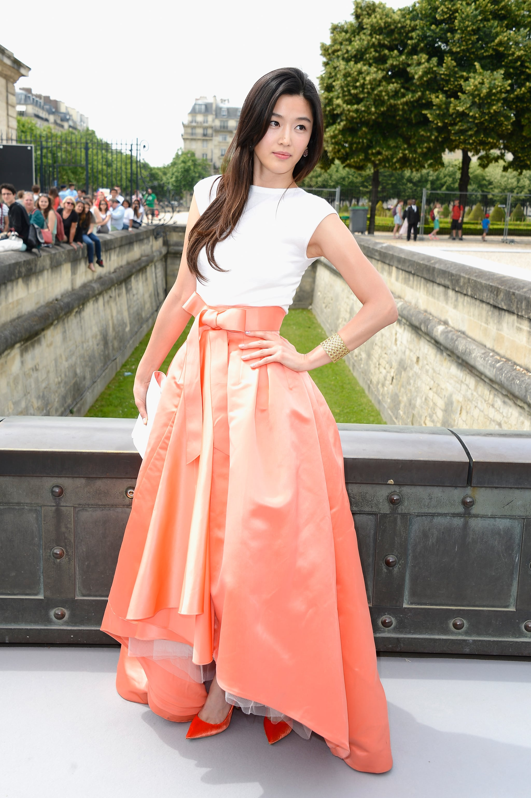 The more formal feel of couture collections means an attendee who's often suitably attired. While a little too much for our everyday, we love this guest's ball skirt.