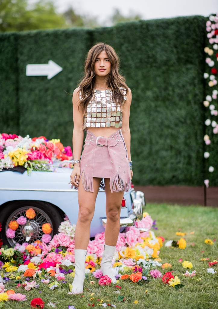 Opt For a Sparkly Crop Top and Western-Inspired Skirt