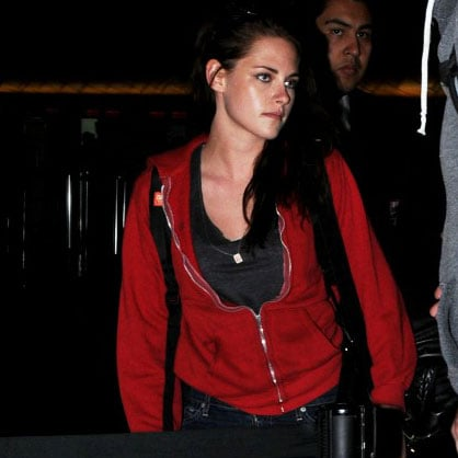 Kristen Stewart Red Sweatshirt at LAX Pictures