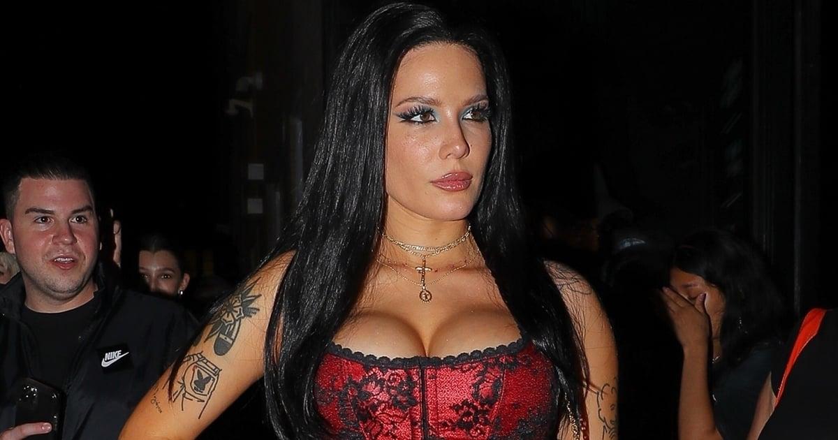 Mortals Beware — Halsey's Crimson Corset at Bella Hadid's NYFW Party Is Hauntingly Vampiric.jpg