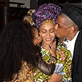 Jay (and Blue!) gave Beyoncé kisses on Halloween in 2015.