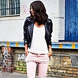 Pink Jeans With a Leather Jacket