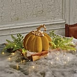 Grandin Road Small Ornate Velvet Pumpkin in Olive