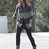 Jennifer Garner wore boots, jeans and a striped knit while out in LA.