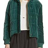 THE GREAT. The Quilted Velvet Puffer Coat