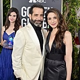 She deserves a guest starring role on The Marvelous Mrs. Maisel for flawlessly squeezing into this snap of Tony Shalhoub and Marin Hinkle.