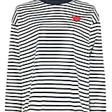 Topshop Stripe Heart Embroidered Sweatshirt by Tee & Cake ($60)