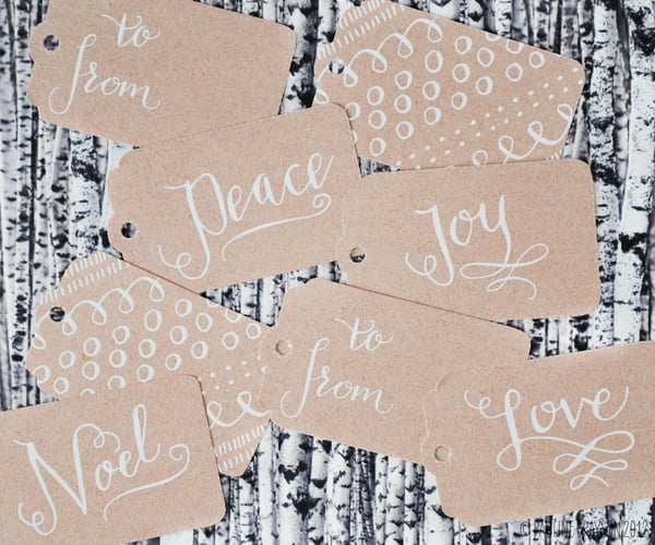 Calligraphy Kraft Paper Gift Tags
