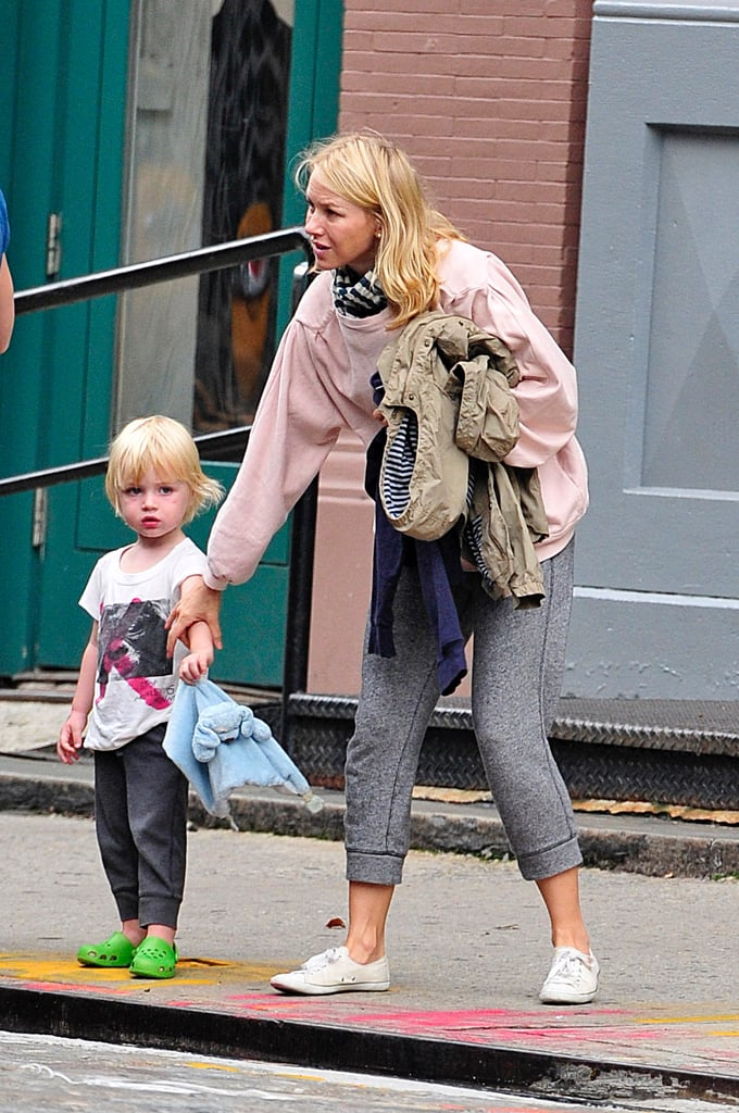 Naomi Watts had a jacket and her son Samuel's arm in NYC yesterday. Naomi and her family are usually spotted walking in the Big Apple, but this time the duo hopped into a waiting car for their day out. The mom of two has had a busy week that included turning 43! Naomi and Isla Fisher had lunch at the Bowery Hotel, and the birthday girl later stepped out for dinner with Liev Schreiber. The fun doesn't stop there for Naomi; though, since her movie Dream House hits theaters today, and she's also set to be honored at Elle's Women in Hollywood event next month.