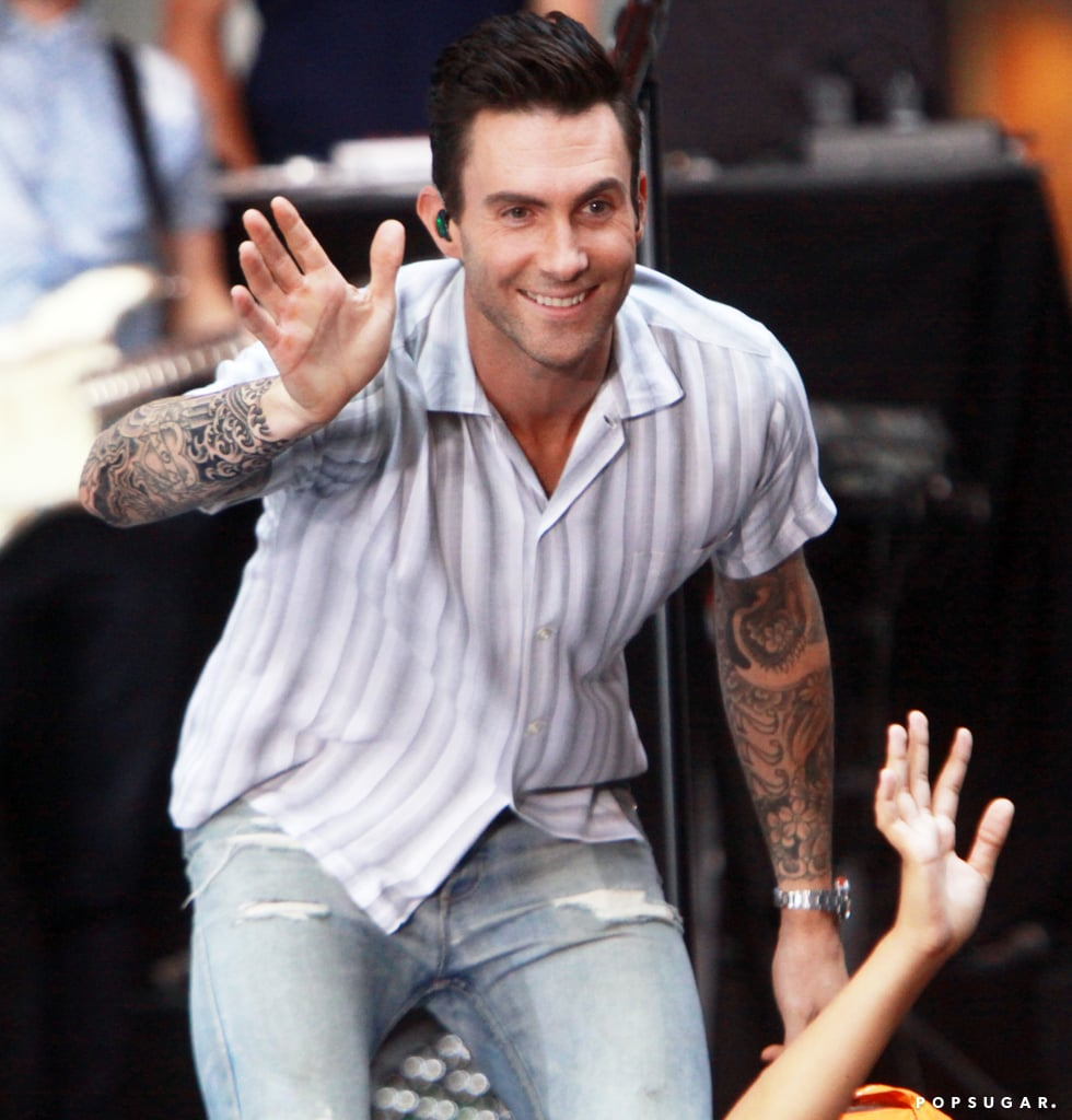 Adam Levine was in high spirits while performing on Today in NYC on Monday.