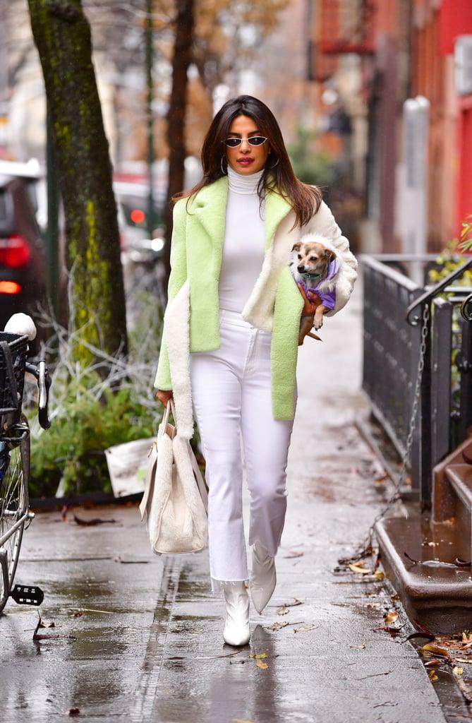 Priyanka Chopra Green Shearling Jacket in NYC December 2018