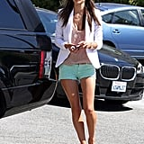 Alessandra Ambrosio made us long for the LA sunshine in a white blazer, cutoffs, and Valentino heels.