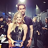 Kaley Cuoco posed backstage with her new husband — and new People's Choice Award. Source: Instagram user normancook