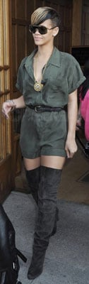 Rihanna in Silk Romper and Over the Knee Suede Boots