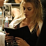 A model focused on her Kindle book while prepping for Trina Turk's show during Mercedes-Benz Fashion Week for Spring 2011.