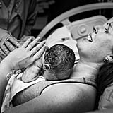 """Although I do a lot of home births and birth-center births, I love working with families who choose to have their babies at a hospital. They are just as beautiful and just as powerful. One of my favorite moments to capture during a birth (regardless of where it takes place) is the moment baby comes into mom's arms."""