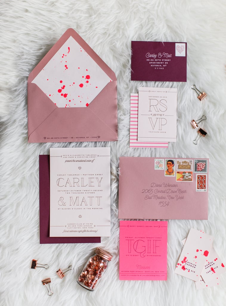 Embrace your color scheme on the invites.