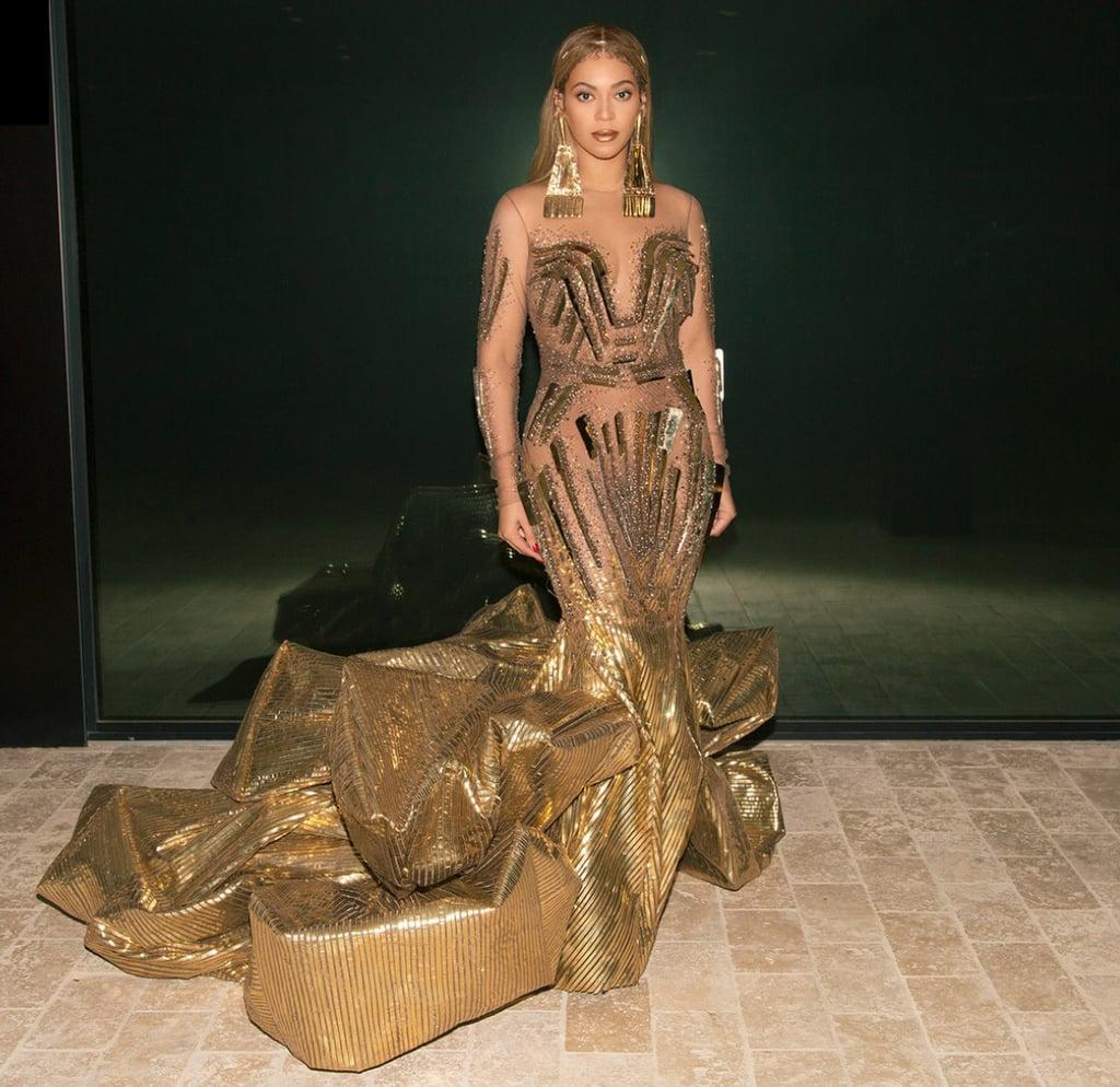 Beyoncé Wearing Gold Dress at 2018 Wearable Art Gala