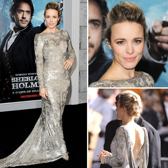 See Every Angel Of Rachel McAdams' Marchesa Silver Frock From The Sherlock Holmes 2 Premiere!