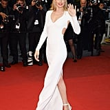 Doutzen Kroes made another jaw-dropping appearance, this time in a white-hot, cut-out, and slit Calvin Klein Collection gown at the Jimmy P.: Psychotherapy of a Plains Indian premiere.