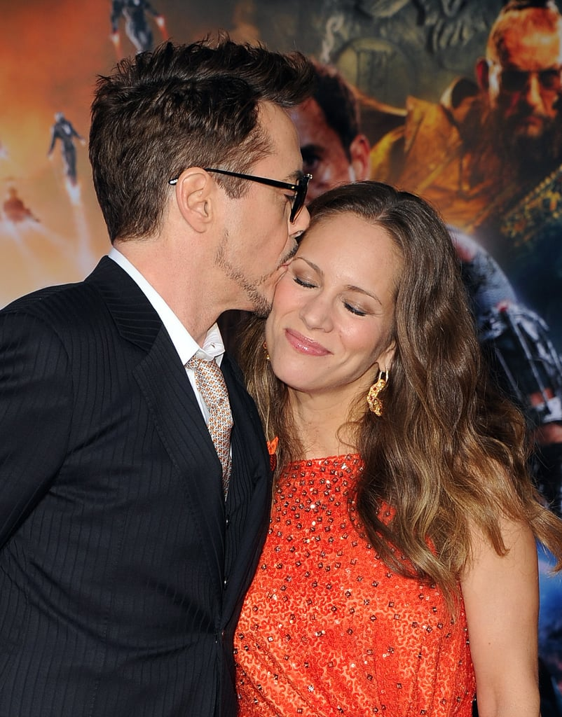 Robert Downey Jr. kissed his wife, Susan Downey.