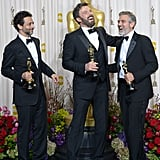 The producers of Argo posed with their Oscars in the press room.
