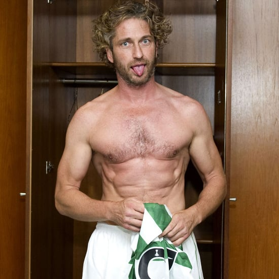 Pictures of Gerard Butler's Abs Playing Soccer