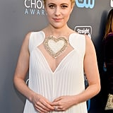 Try Not to Fall in Love With Greta Gerwig's Heart-Embellished Red Carpet Dress