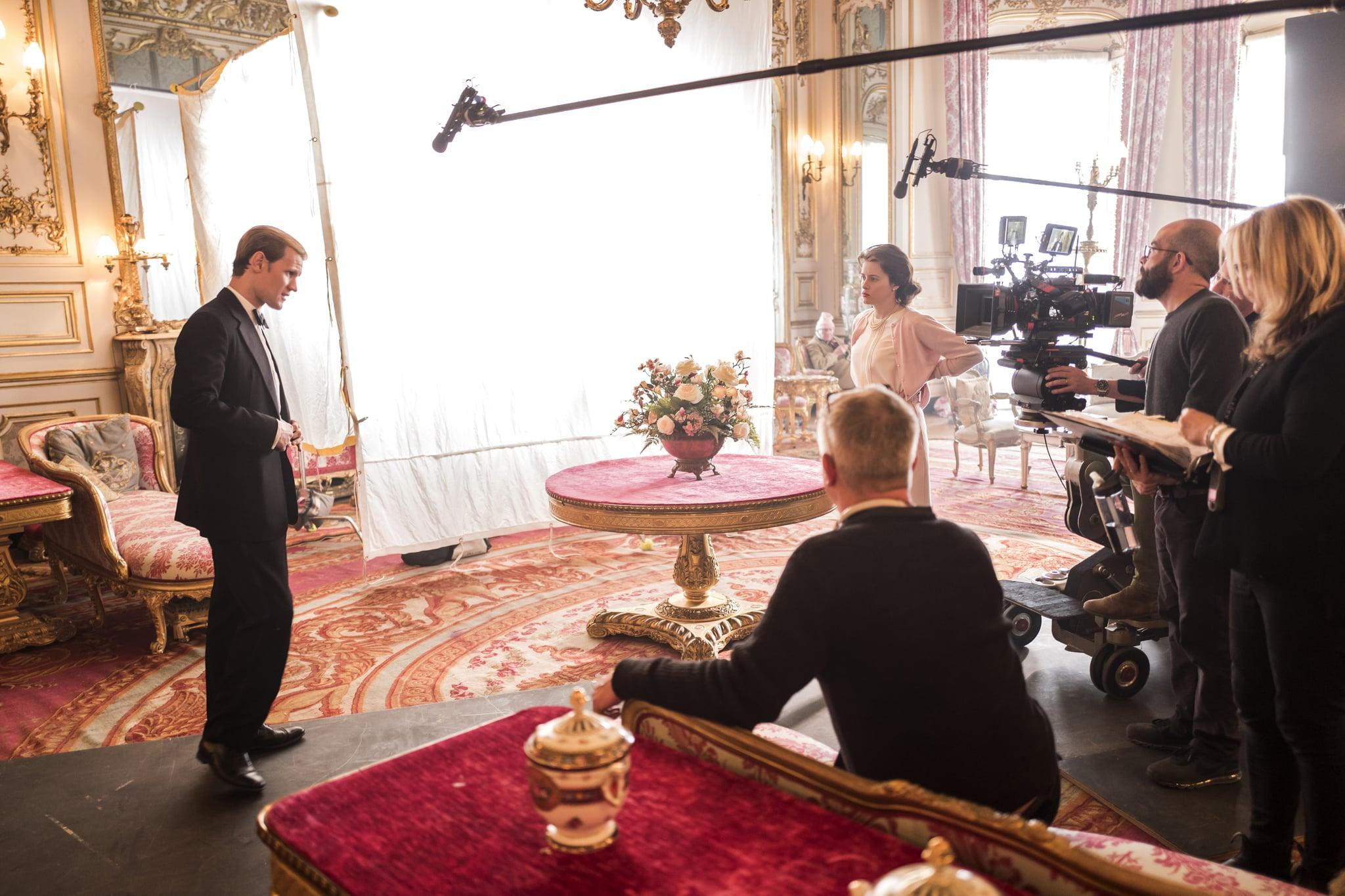 The Crown - Matt Smith, Stephen Daldry, Claire Foy - Matt Smith and Claire Foy film with director Stephen Daldry at Belvoir Castle (Windsor Castle)