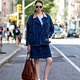 There's no end to the cool-girl appeal of a denim-on-denim outfit that's complete with classic high-top Converse.