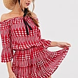 ASOS Design Off Shoulder Tiered Gingham Mini Sundress