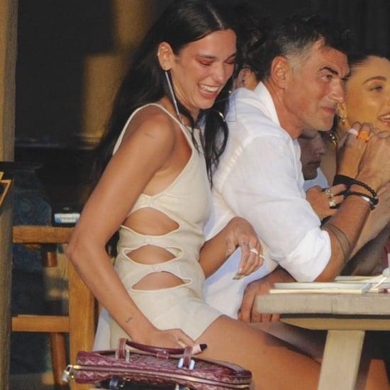 Dua Lipa Wearing a Beige Cutout Dress on Vacation in Ibiza