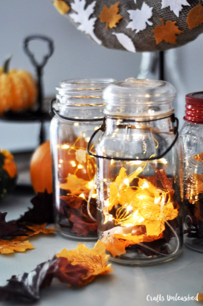 Leaf luminary mason jar thanksgiving