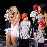 Cruz, Romeo, and Brooklyn joined their mom, Victoria Beckham, on stage in NYC during the Spice Girls' 2009 world tour.