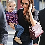 Victoria Beckham took her daughter Harper shopping in Paris on Saturday.