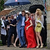 Rachel McAdams and Domhnall Gleeson endured some wind and rain on the set of About Time in the UK.