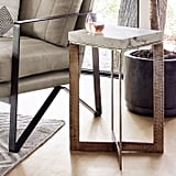 Marble-Topped Crossbase Side Table