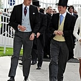 William and Harry donned top hats and tails during Derby Day in June 2011.