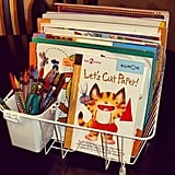 Store rainy-day activities in a dish caddy.