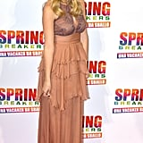 Ashley Benson also picked a peachy number for the Rome photocall for Spring Breakers. Hers was a long dress with a keyhole and ruffle tiers on the skirt.