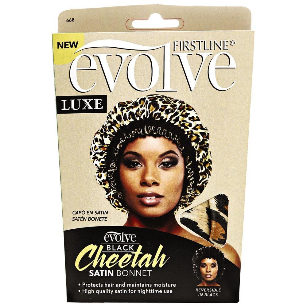 Evolve Black Cheetah Satin Bonnet