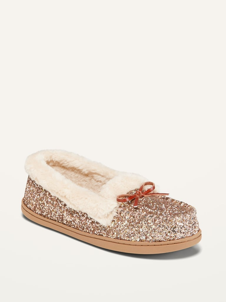 Glitter Faux-Fur Lined Moccasin Slippers