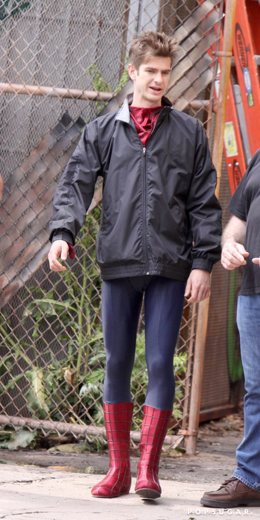 Andrew Garfield covered his Spider-Man suit with a jacket for a day on set in NYC.