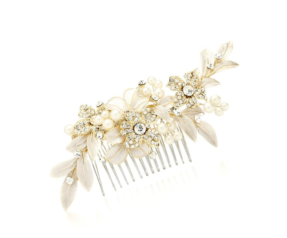 Mariell Designer Gold Bridal Hair Comb with Hand Painted Silvery-Golden Leaves and Pave Crystals ($40)