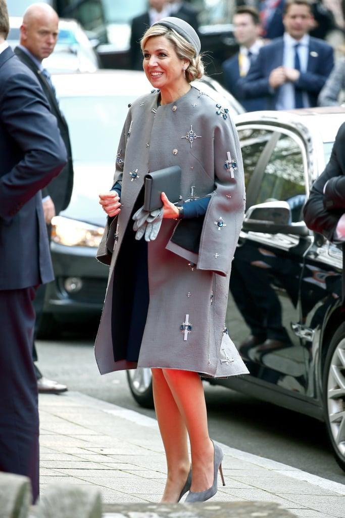 Queen Maxima Wears Embellished Coat Popsugar Latina