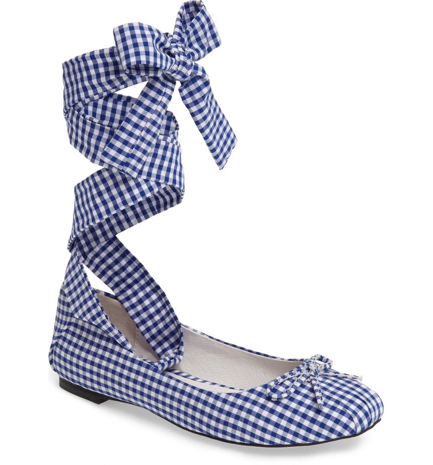 An easy way to tap into the gingham trend for work is with these Jeffrey Campbell flats ($120).