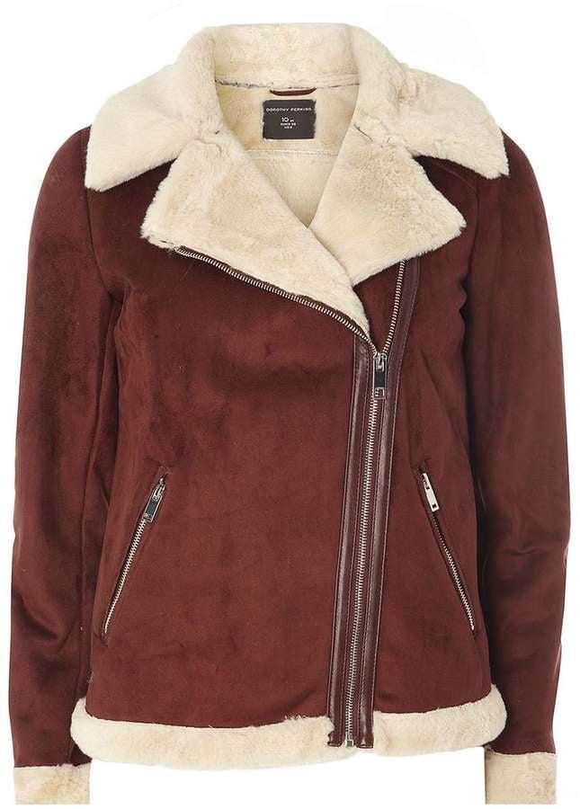 Dorothy Perkins Burgundy Faux Shearling Biker Jacket ($95)